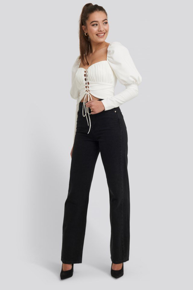 Ribbed Detail Blouse Outfit.