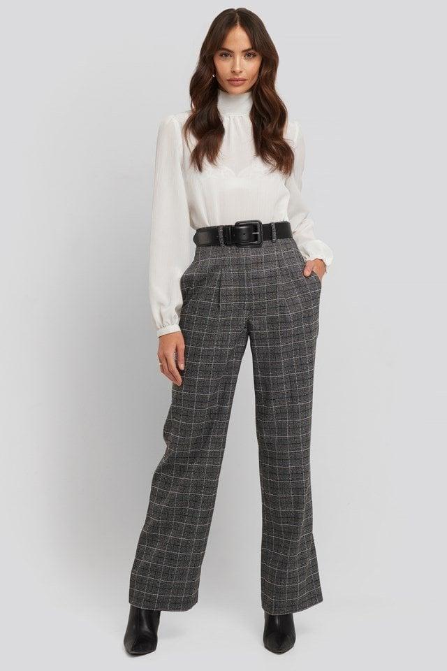 Wide Leg Plaid Suit Pants Outfit