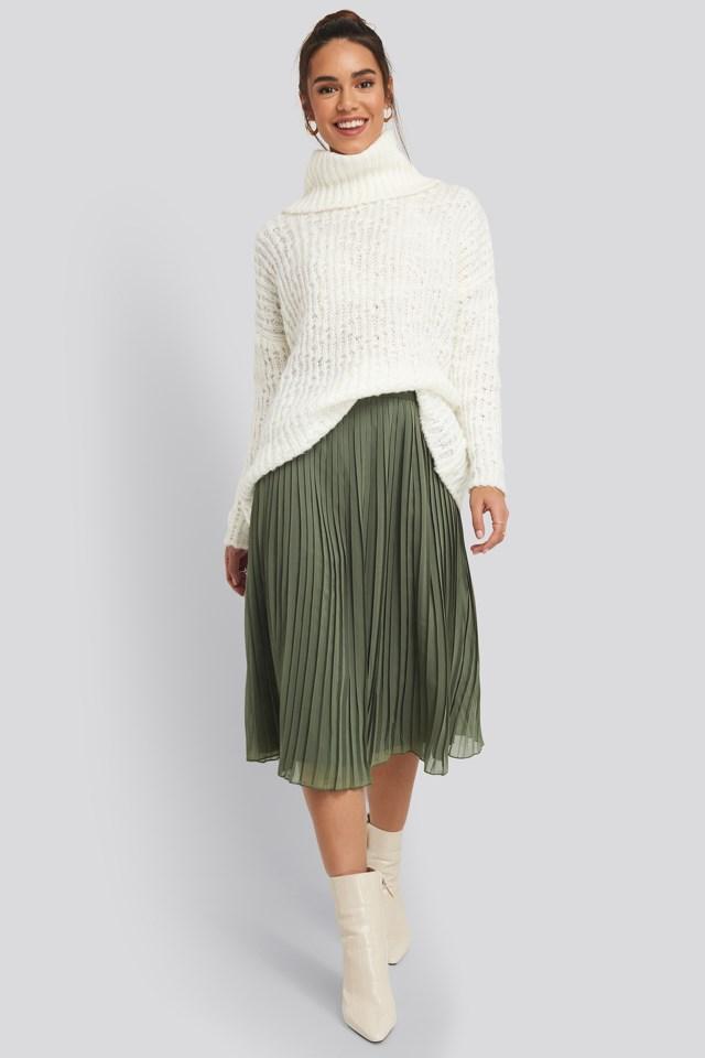 Khaki Green Pleated Midi Skirt