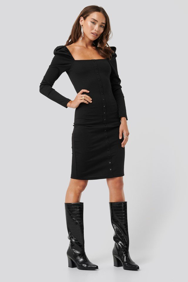 Puff Shoulder Buttoned Bodycon Dress Black Outfit