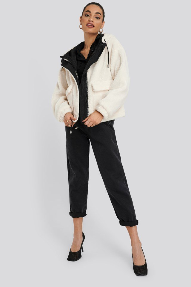 White Short Faux Fur Belted Biker Jacket