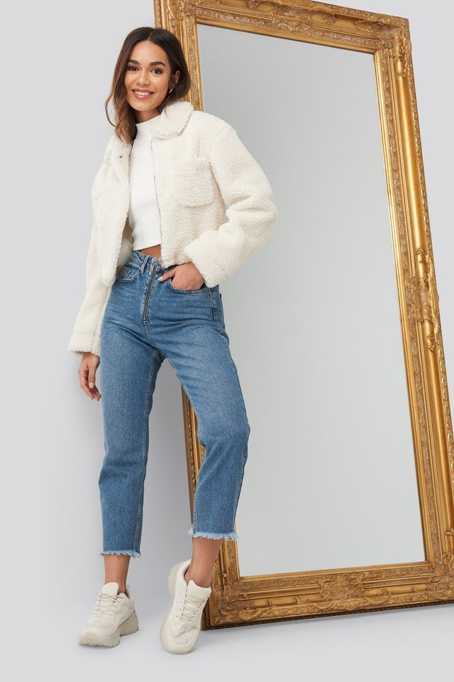 Teddy Front Pocket Jacket White Outfit