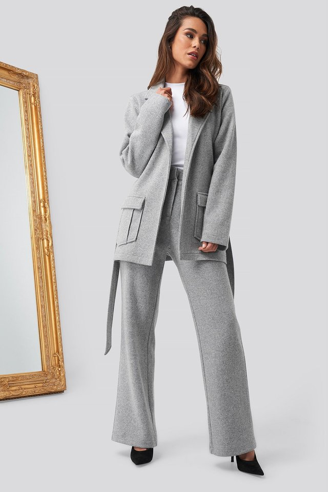 Front Pocket Oversized Blazer Grey Outfit
