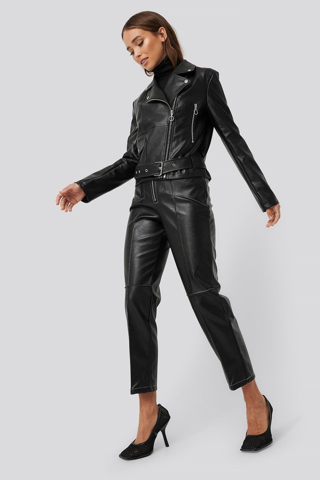Faux Leather Seam Detail Jacket Outfit