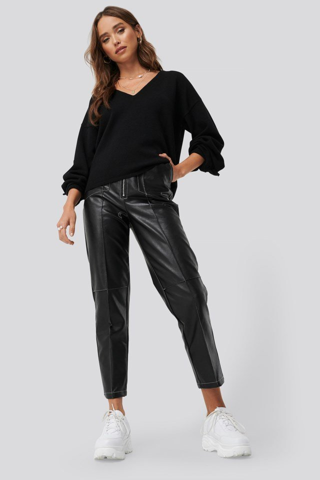 Black Faux Leather Front Seam Pants