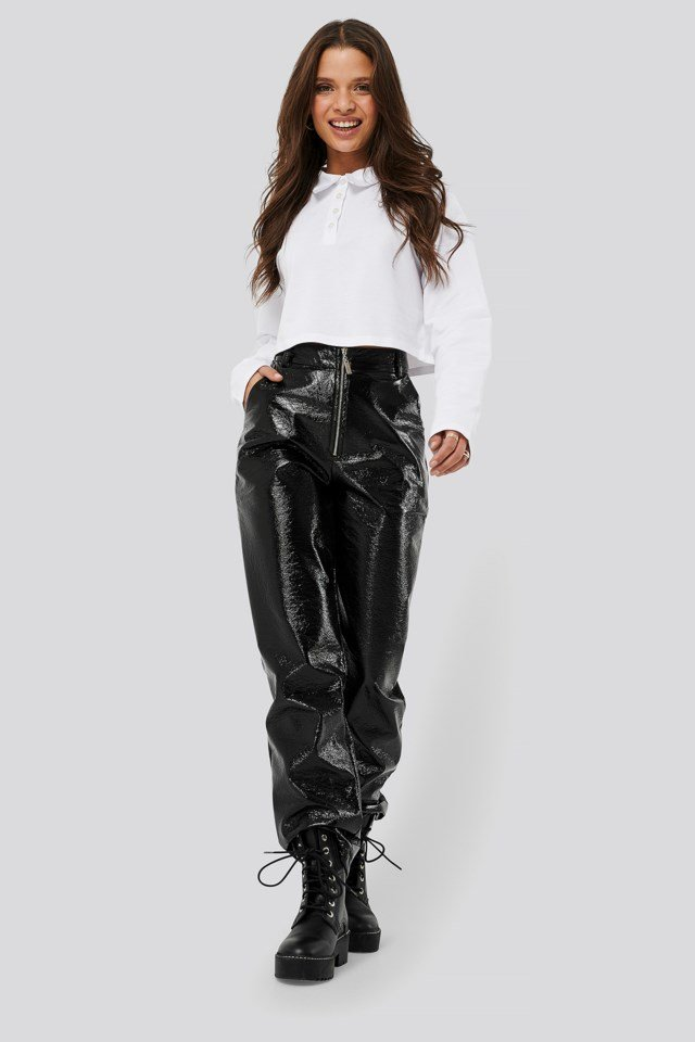 Patent Zipper Pants Outfit