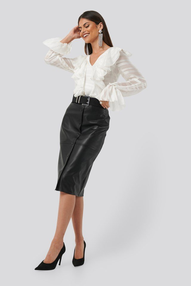 Flounce Front Blouse White Outfit