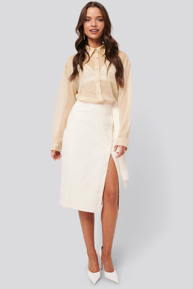 Beige Wrap Over Linen Look Skirt