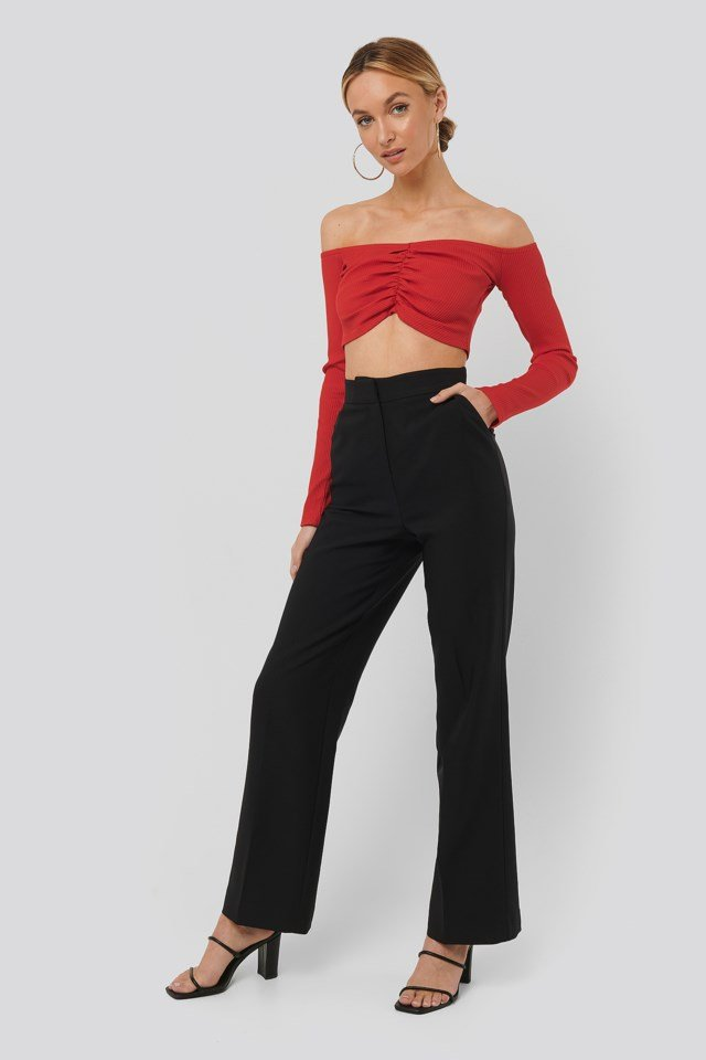 Off Shoulder Gathered Top Red Outfit
