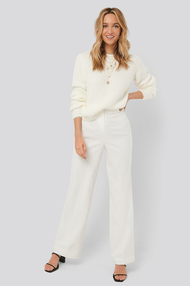 Wide Leg Suit Pants White Outfit