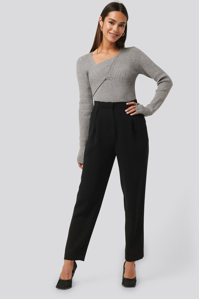 Ribbed Asymmetric Sweater Outfit