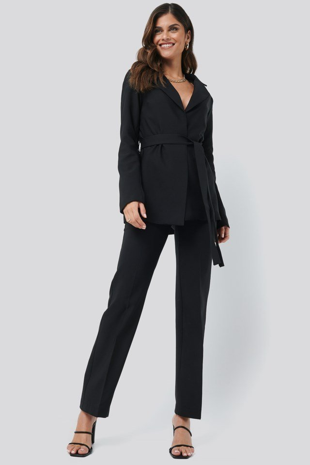 Front Tie Blazer Black Outfit