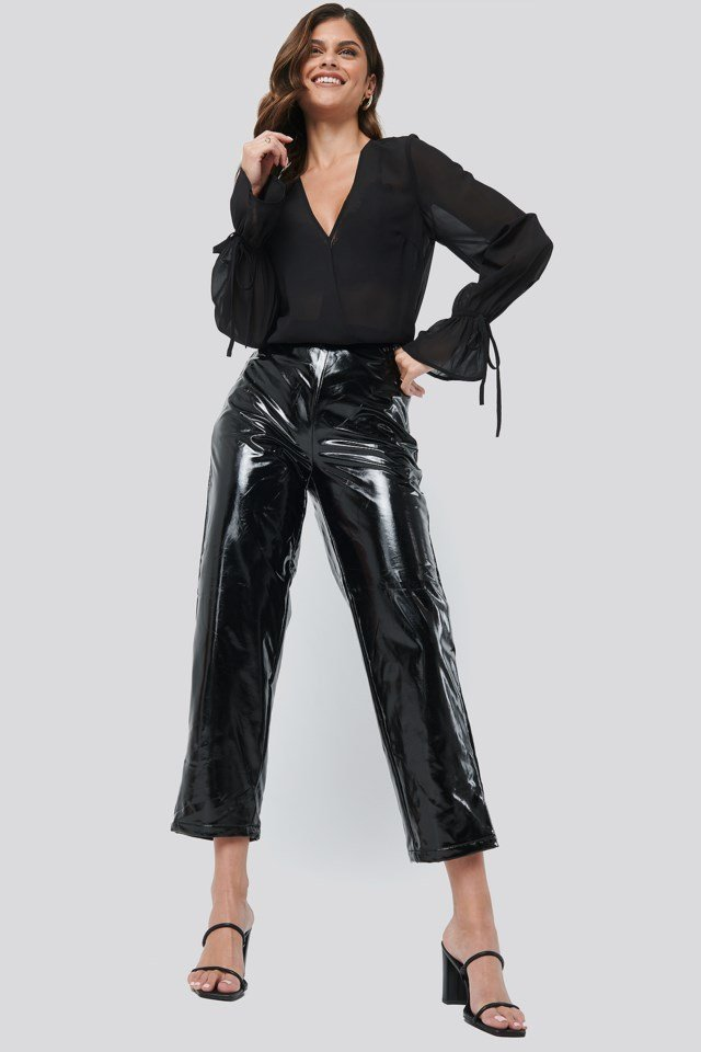 High Waisted Patent Pants Outfit