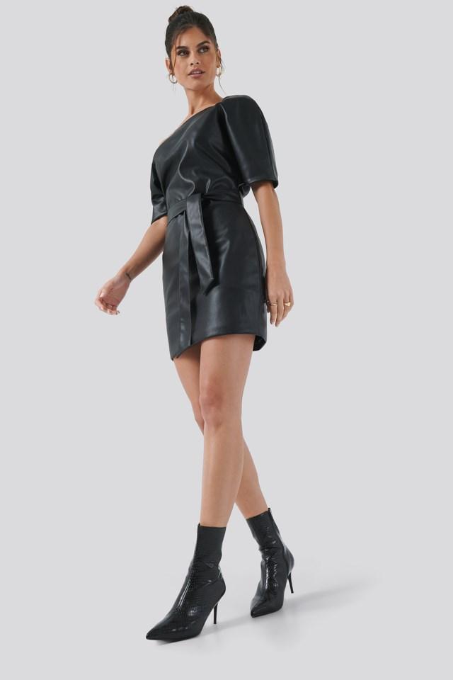 Off Shoulder PU Dress Outfit
