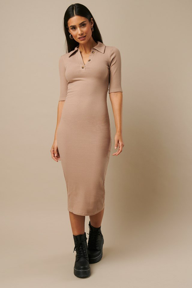 Ribbed Jersey Midi Dress Beige Outfit
