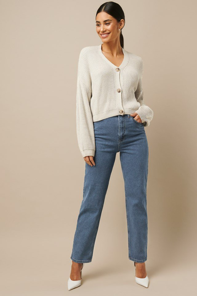 High Waist Straight Jeans Blue Outfit