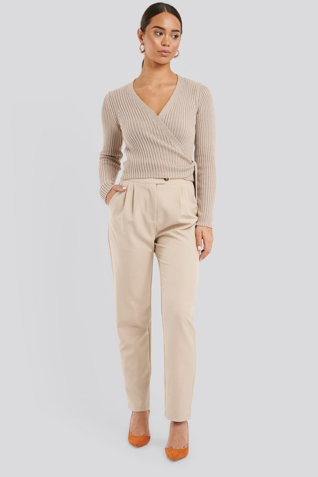 Overlap Ribbed Knitted Sweater Outfit.