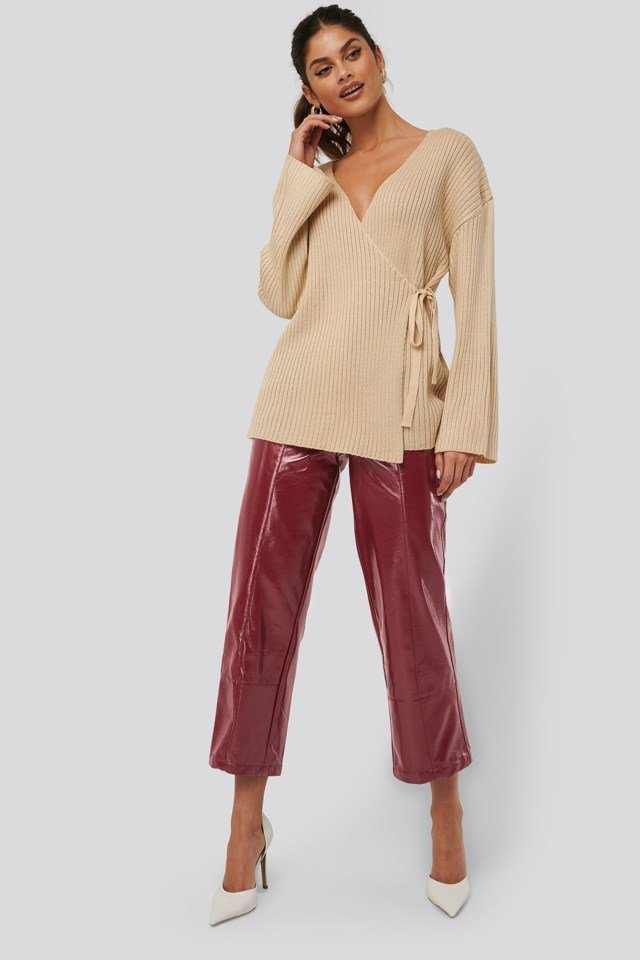 Ribbed Overlap Tie Sweater Outfit