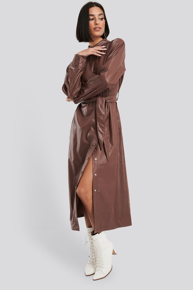 Faux Leather Belted Shirt Midi Dress Brown Outfit