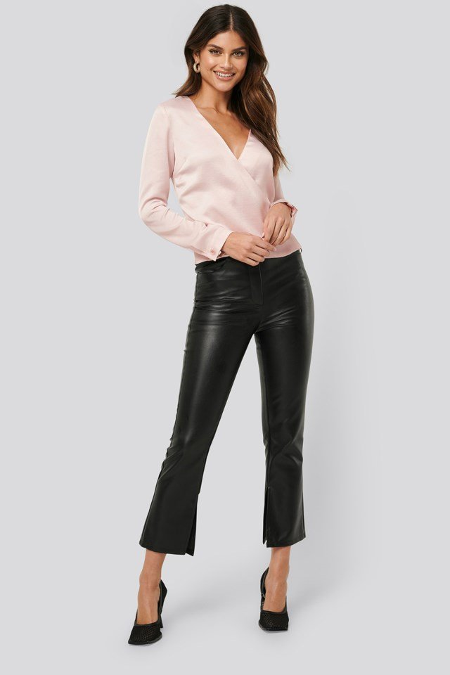 Shiny Overlap Blouse Pink Outfit