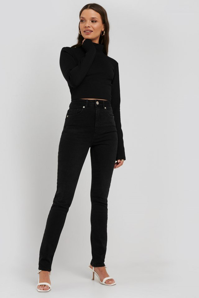 Open Back High Neck LS Top Outfit