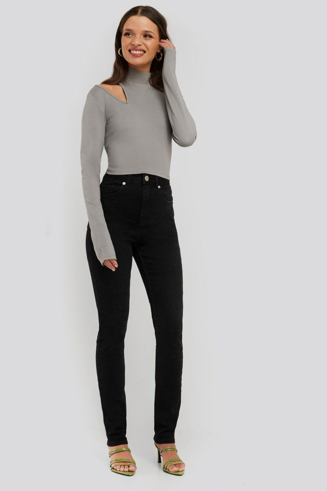Cut Detail High Neck Top Outfit
