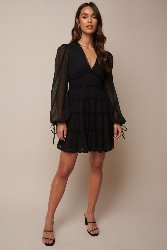 Dotted Chiffon Frill Dress Outfit