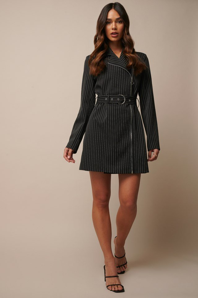 Black Pinstripe Pinstriped Zip Detail Blazer Dress