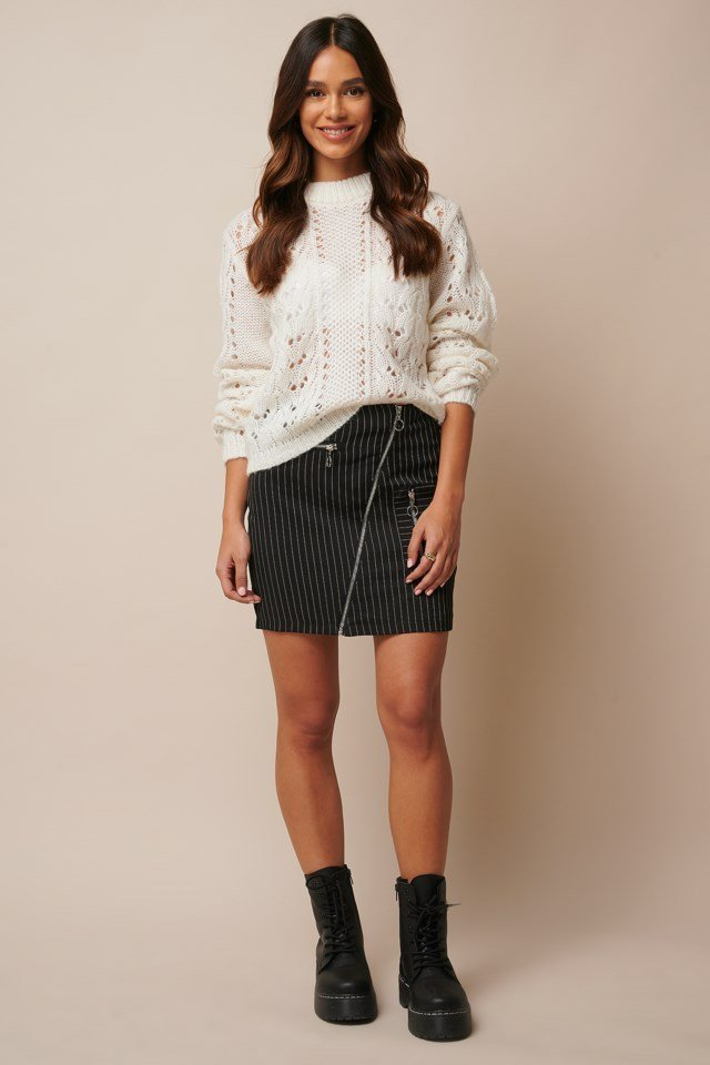 Pattern Knitted Sweater Outfit