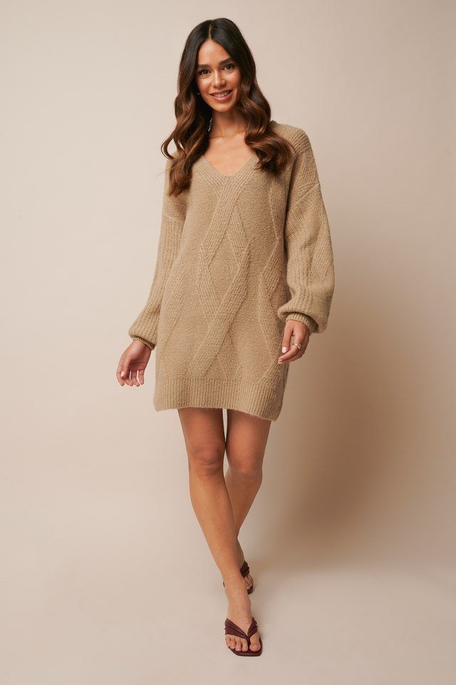 Braided Cable Knitted Dress Outfit