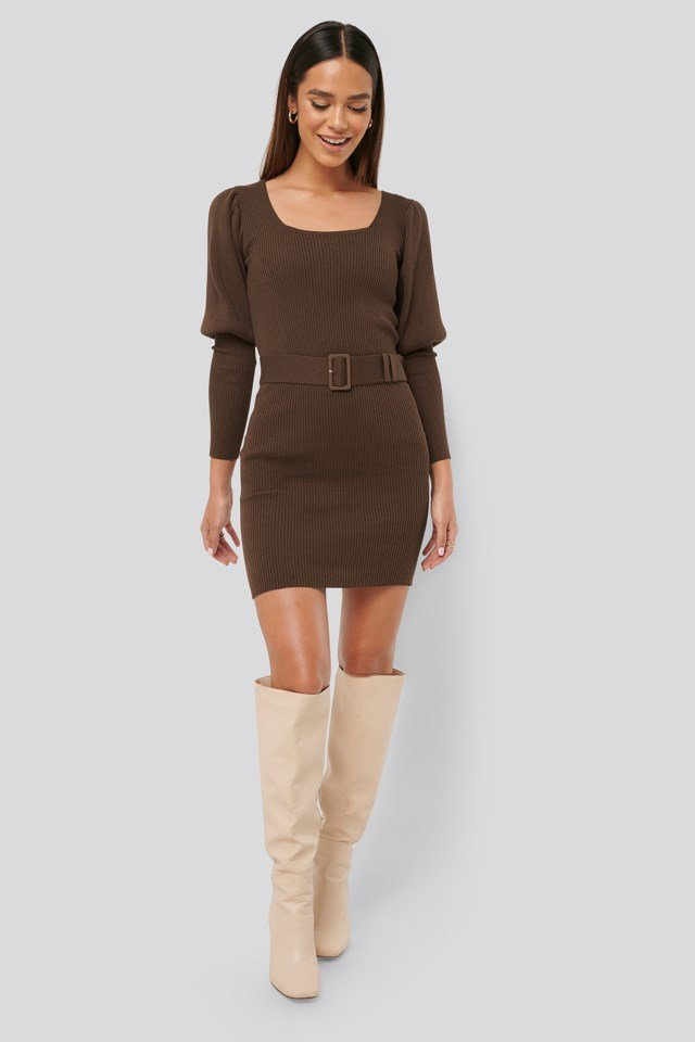 Puff Sleeve Knitted Dress Outfit