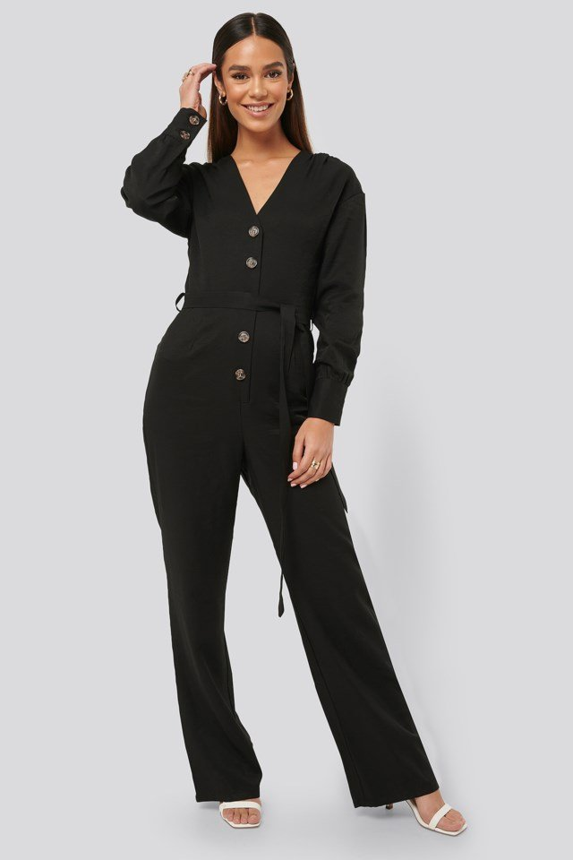 Wrinkle Shoulder Jumpsuit