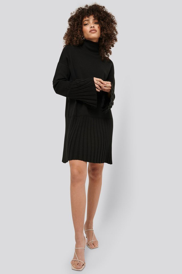 Wide Sleeve Knitted Dress Outfit