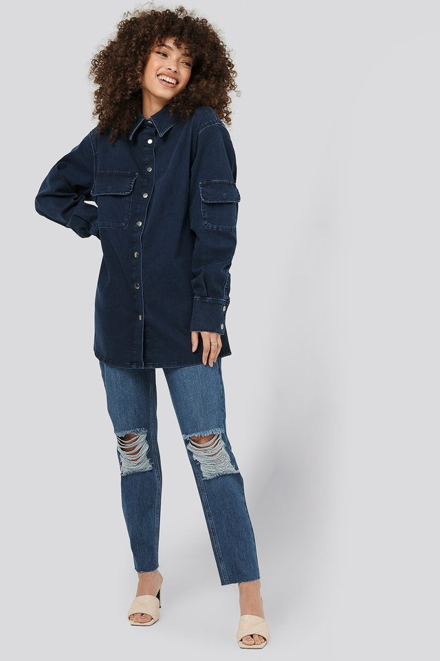 Dark Blue Denimskjorte