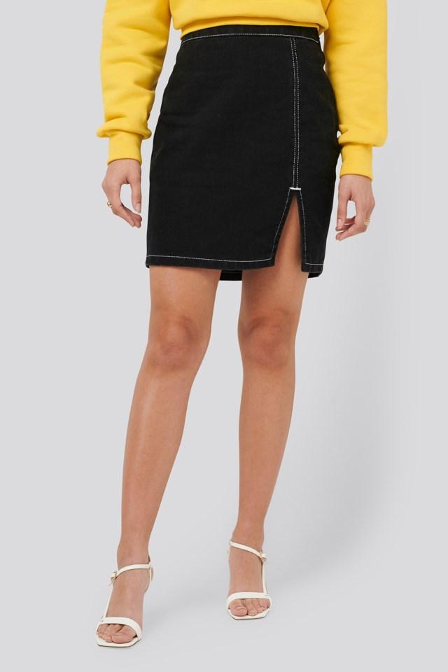 Contrast Seam Denim Skirt Outfit