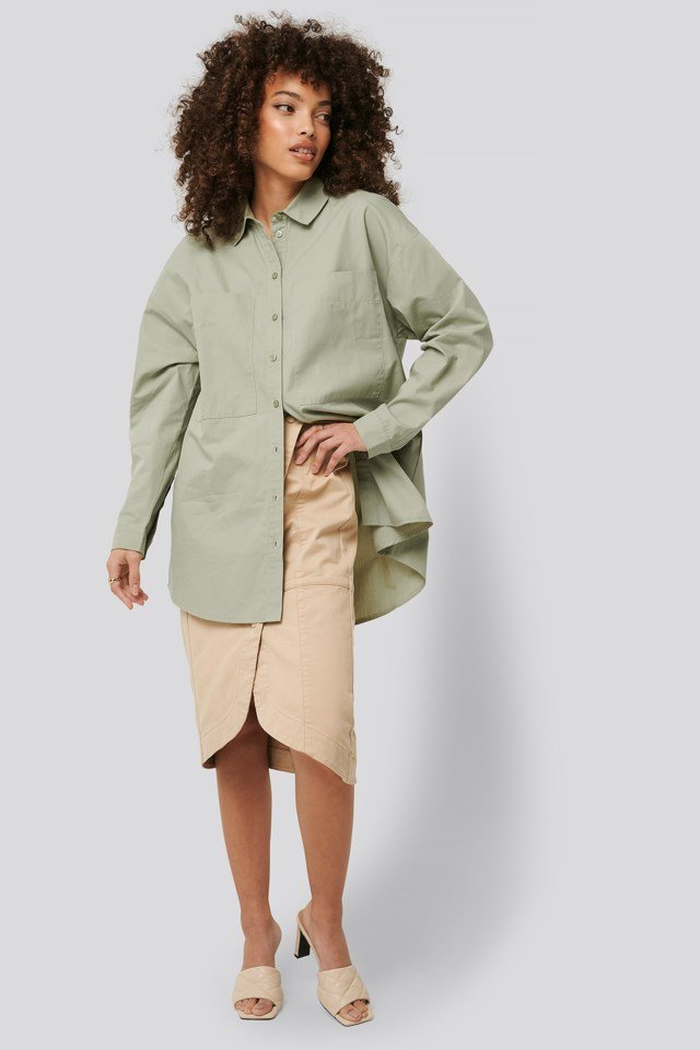Oversized Patch Pocket Shirt Outfit