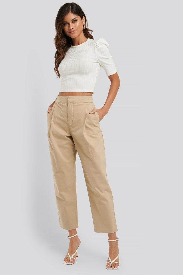 Cropped Pleated Tapered Pants