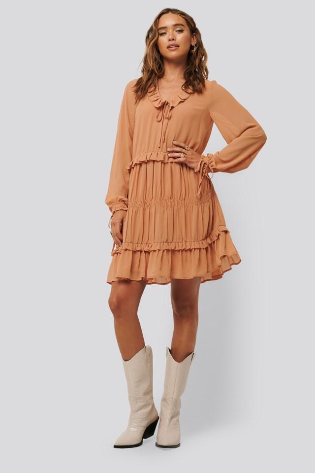 Multi Frill Flowy Mini Dress