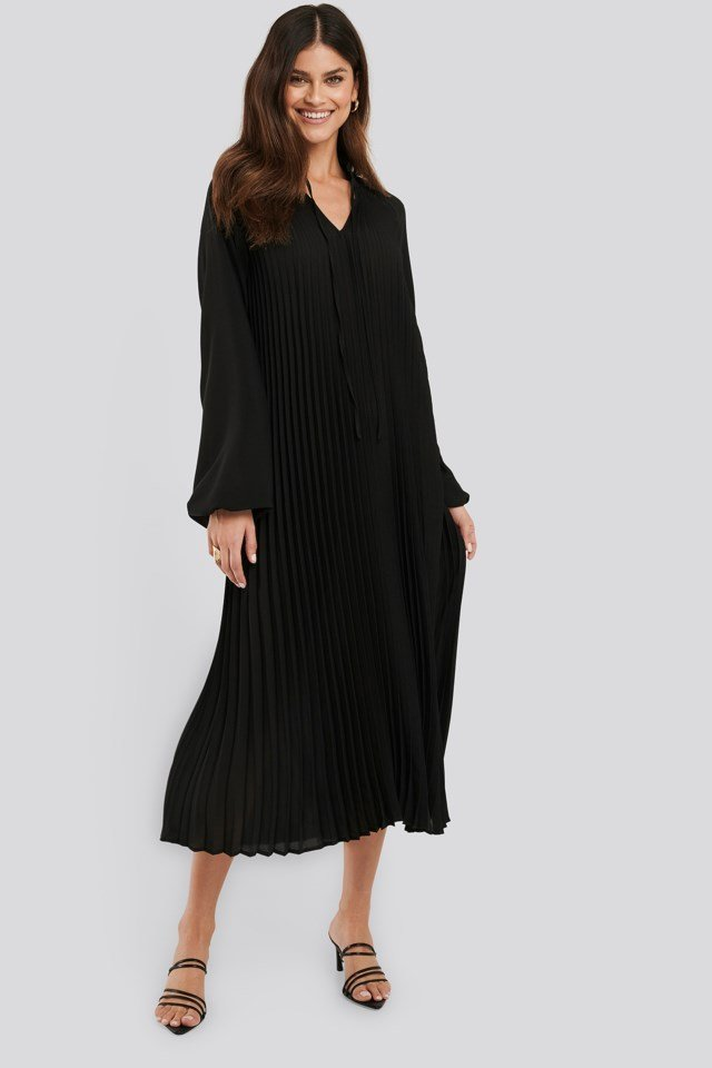 Midi Pleated Balloon Sleeve Dress