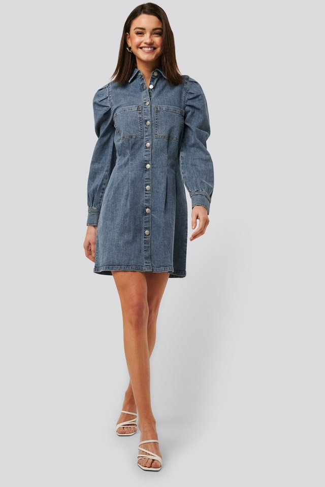 Balloon Sleeve Mini Denim Dress