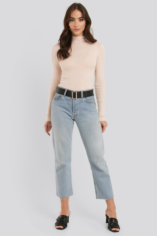 Ribbed Polo Neck Sweater