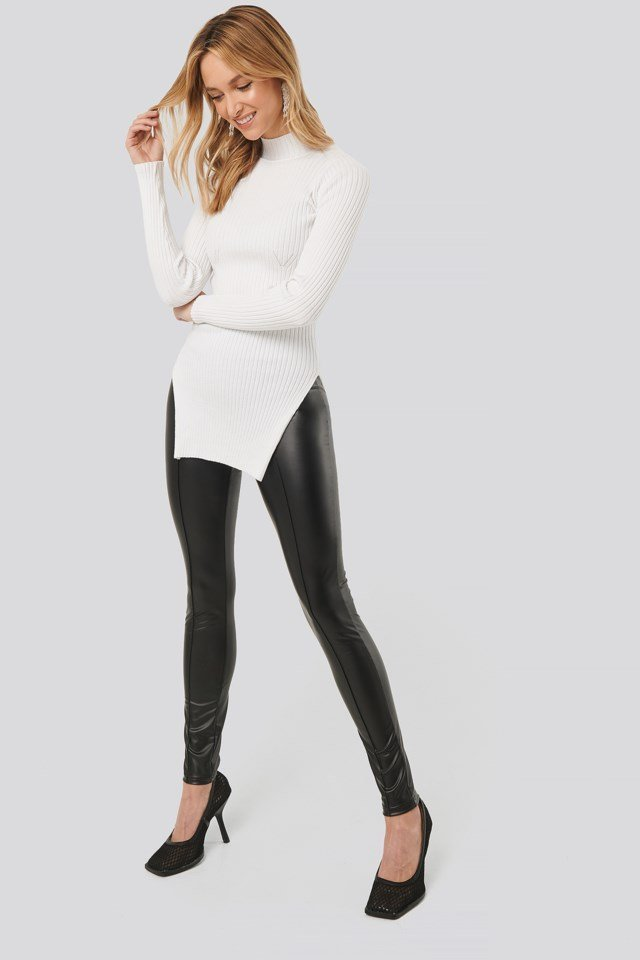 Seam Detail Shiny Leggings Outfit