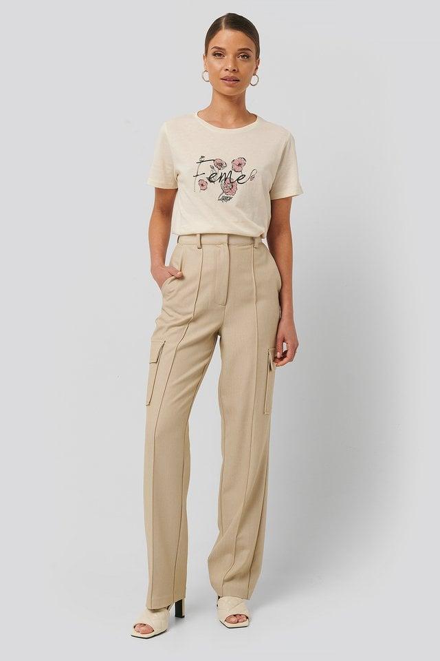 Feme Print Basic Tee Outfit