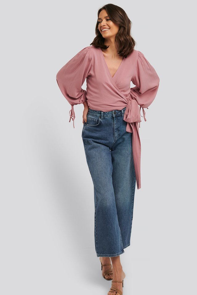 Drawstring Balloon Sleeve Wrap Blouse