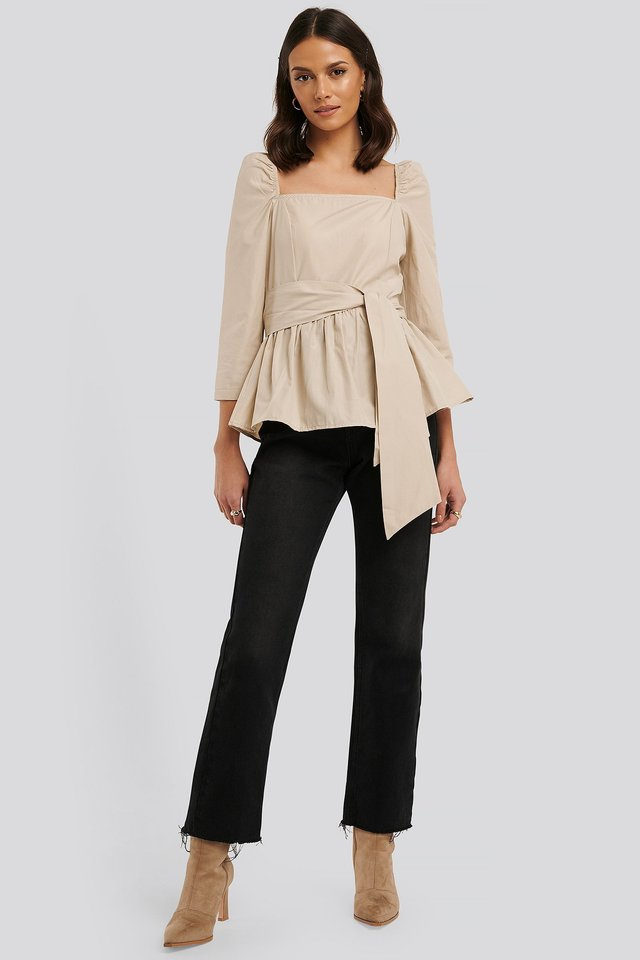 Front Tied 3/4 Sleeve Blouse Outfit