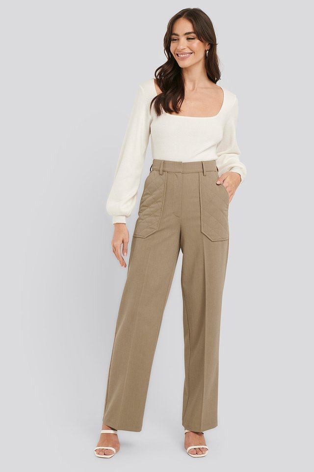 Quilted Pocket Suit Pants Outfit