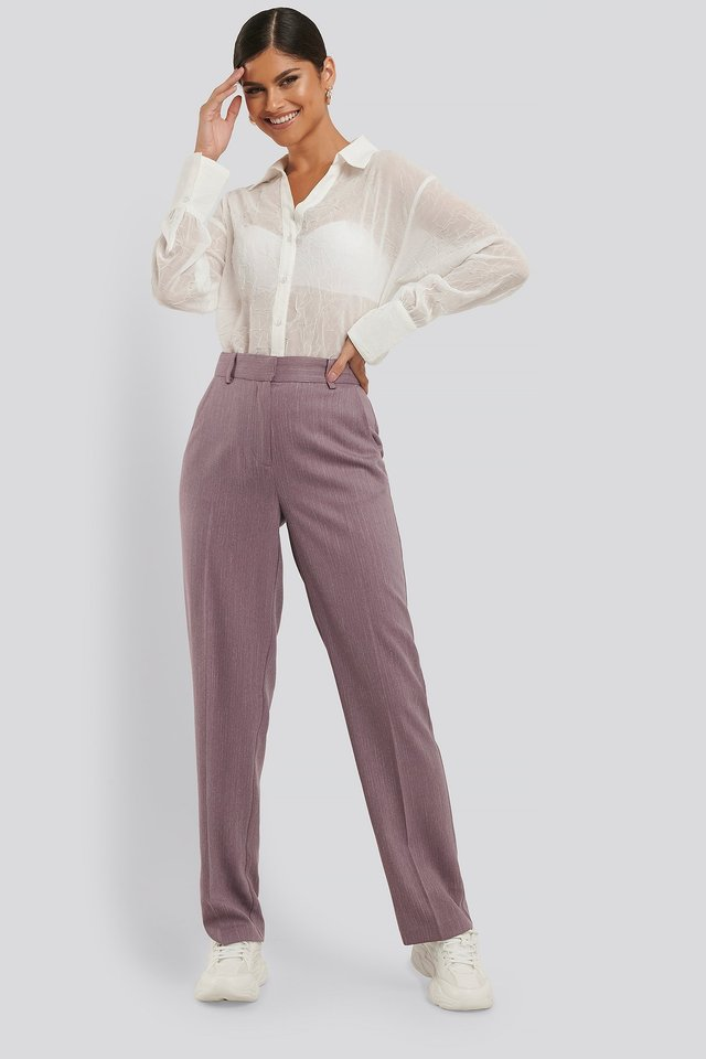 Mid Rise Creased Suit Pants Outfit