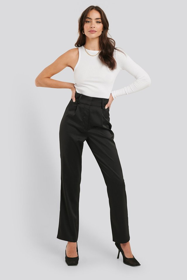 High Rise Satin Pants Outfit