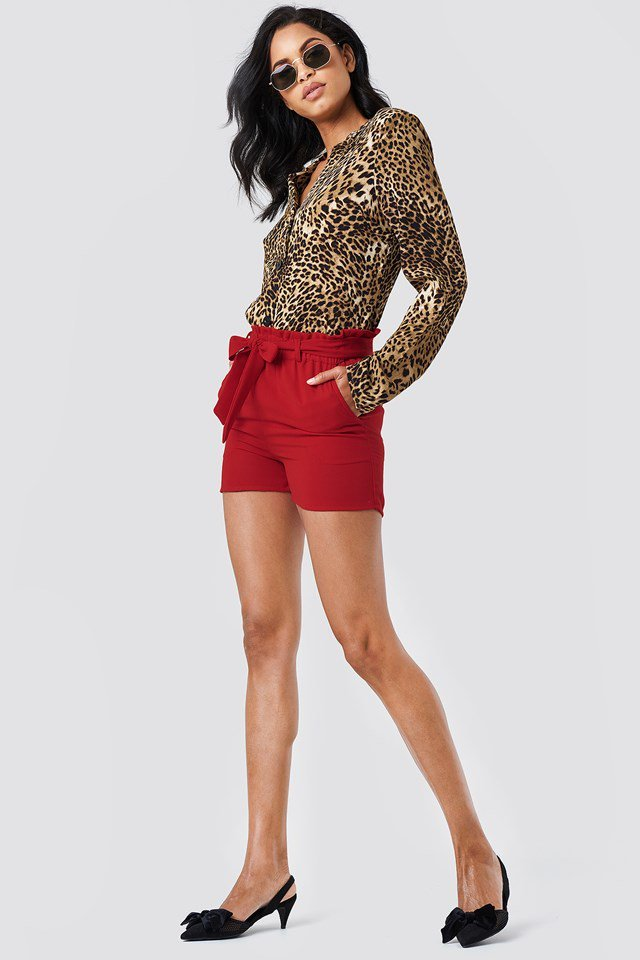 Leopard Blouse with Belted Shorts