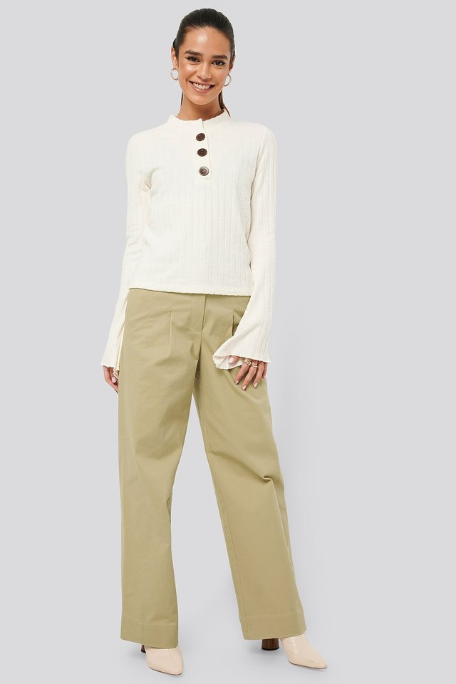 Asymmetric Bell Sleeve Ribbed Sweater Outfit
